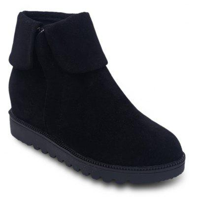 Faux Suede Flat Ankle Boots
