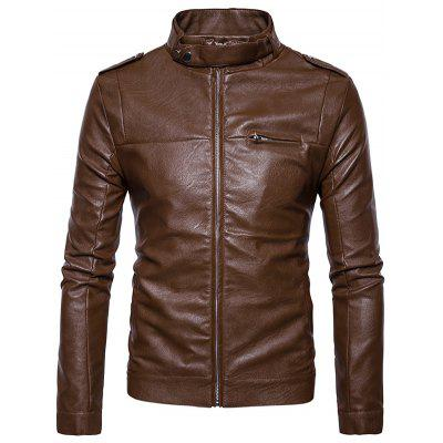 Buy Stand Collar Epaulet Zip Up Faux Leather Jacket BROWN S for $68.31 in GearBest store