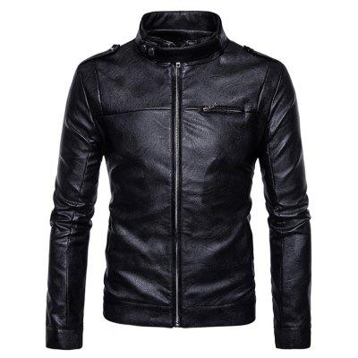 Buy Stand Collar Epaulet Zip Up Faux Leather Jacket BLACK XL for $68.31 in GearBest store