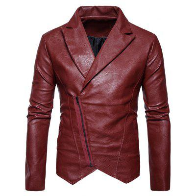Zip Up Asymmetric PU Leather Biker Jacket