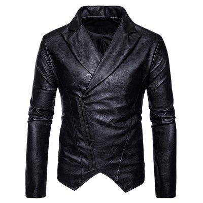 Buy Zip Up Asymmetric PU Leather Biker Jacket BLACK XL for $68.45 in GearBest store