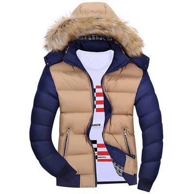 Detachable Hood Color Block Padded Jacket