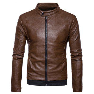 Stand Collar Ribbed Zip Up Faux Leather Jacket