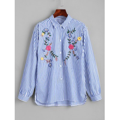 Buy Floral Embroidered Button Down High Low Shirt STRIPE L for $35.43 in GearBest store