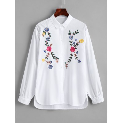 Buy Floral Embroidered Button Down High Low Shirt WHITE L for $35.43 in GearBest store