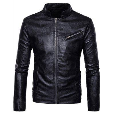 Stand Collar Zipper Design Faux Leather Jacket