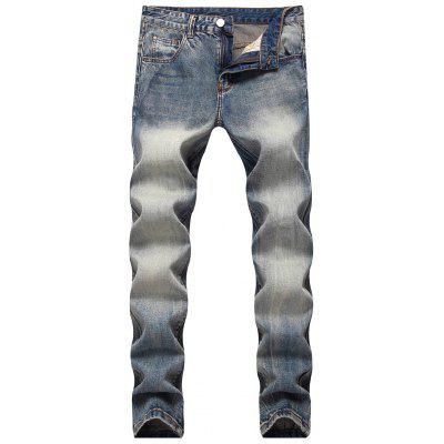 Buy Mid Rise Straight Leg Faded Jeans BLUE GRAY 32 for $45.47 in GearBest store