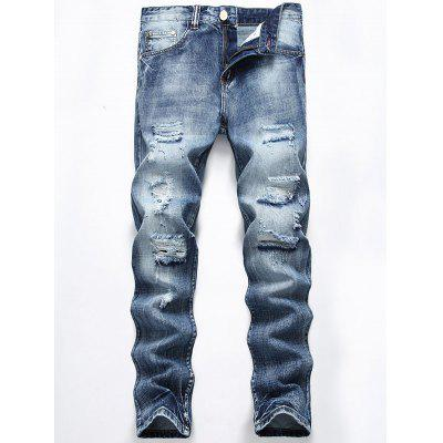 Straight Leg Light Wash Distressed Jeans