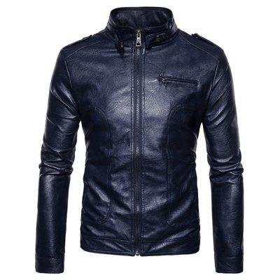 Buy Stand Collar Epaulet Faux Leather Zip Up Jacket CADETBLUE XL for $69.15 in GearBest store