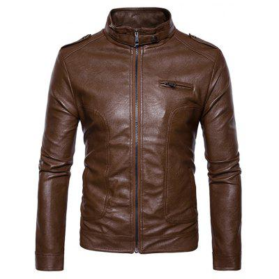 Buy Stand Collar Epaulet Faux Leather Zip Up Jacket BROWN S for $69.15 in GearBest store
