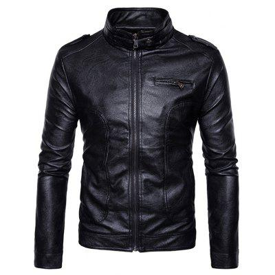 Buy Stand Collar Epaulet Faux Leather Zip Up Jacket BLACK L for $69.15 in GearBest store
