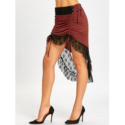 High Waisted High Low Lace Insert Ruched Skirt