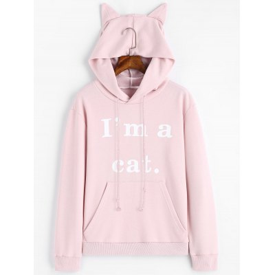 Letter Graphic Front Pocket Cat Hoodie
