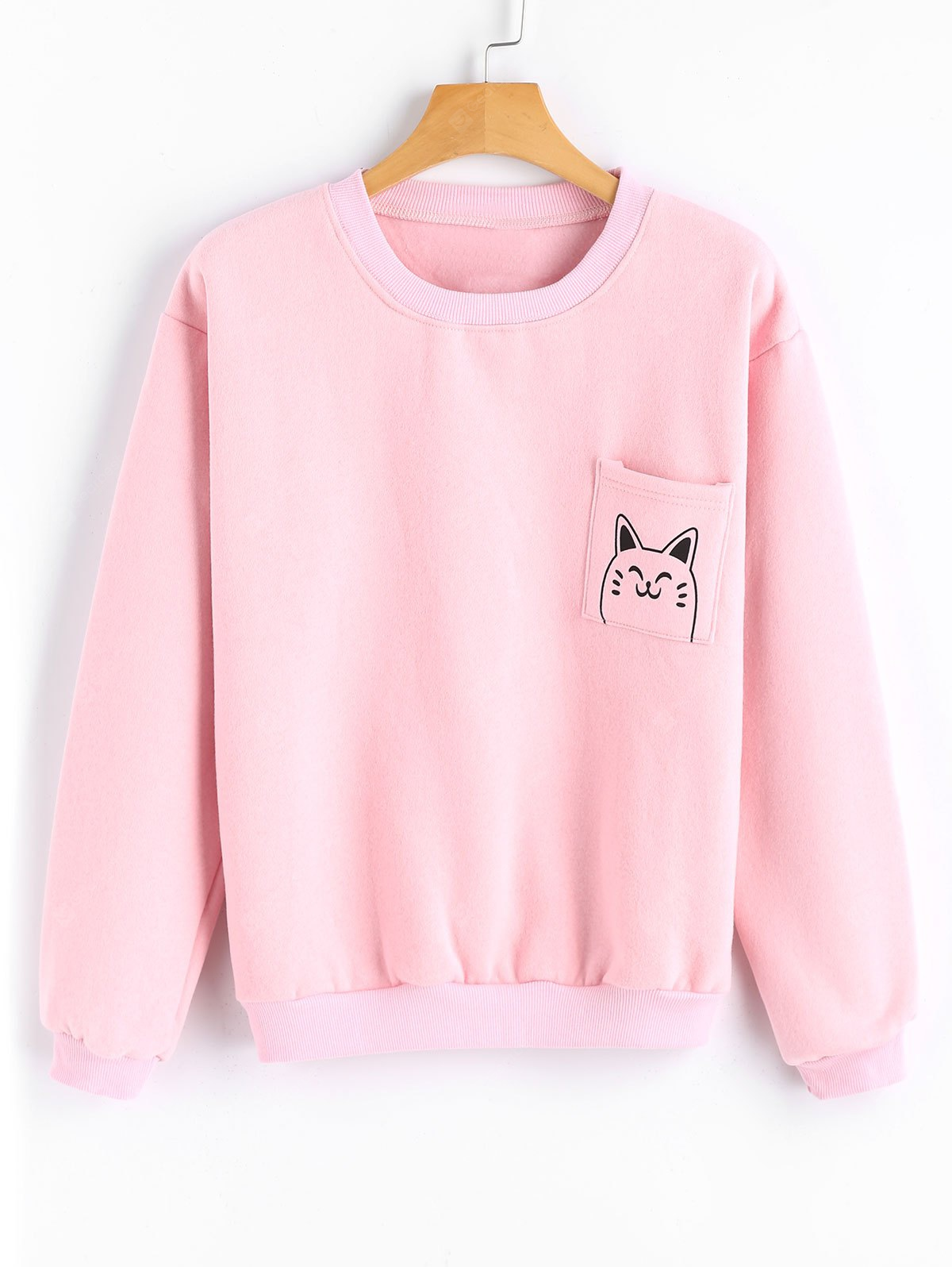 Cute Cat Pocket Loose Sweatshirt