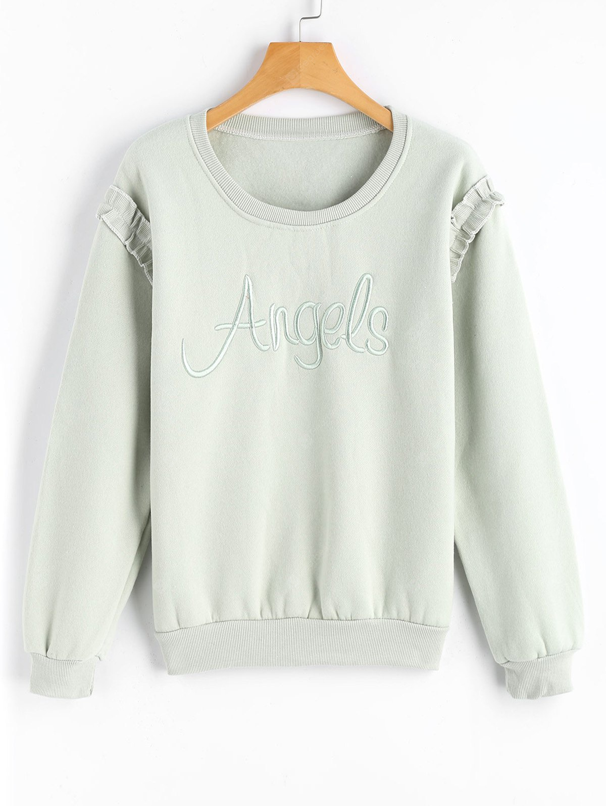 Letter Embroidered Ruffles Sweatshirt