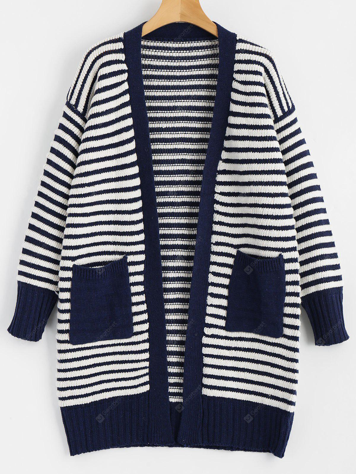 Cardigan à Rayures avec Poches
