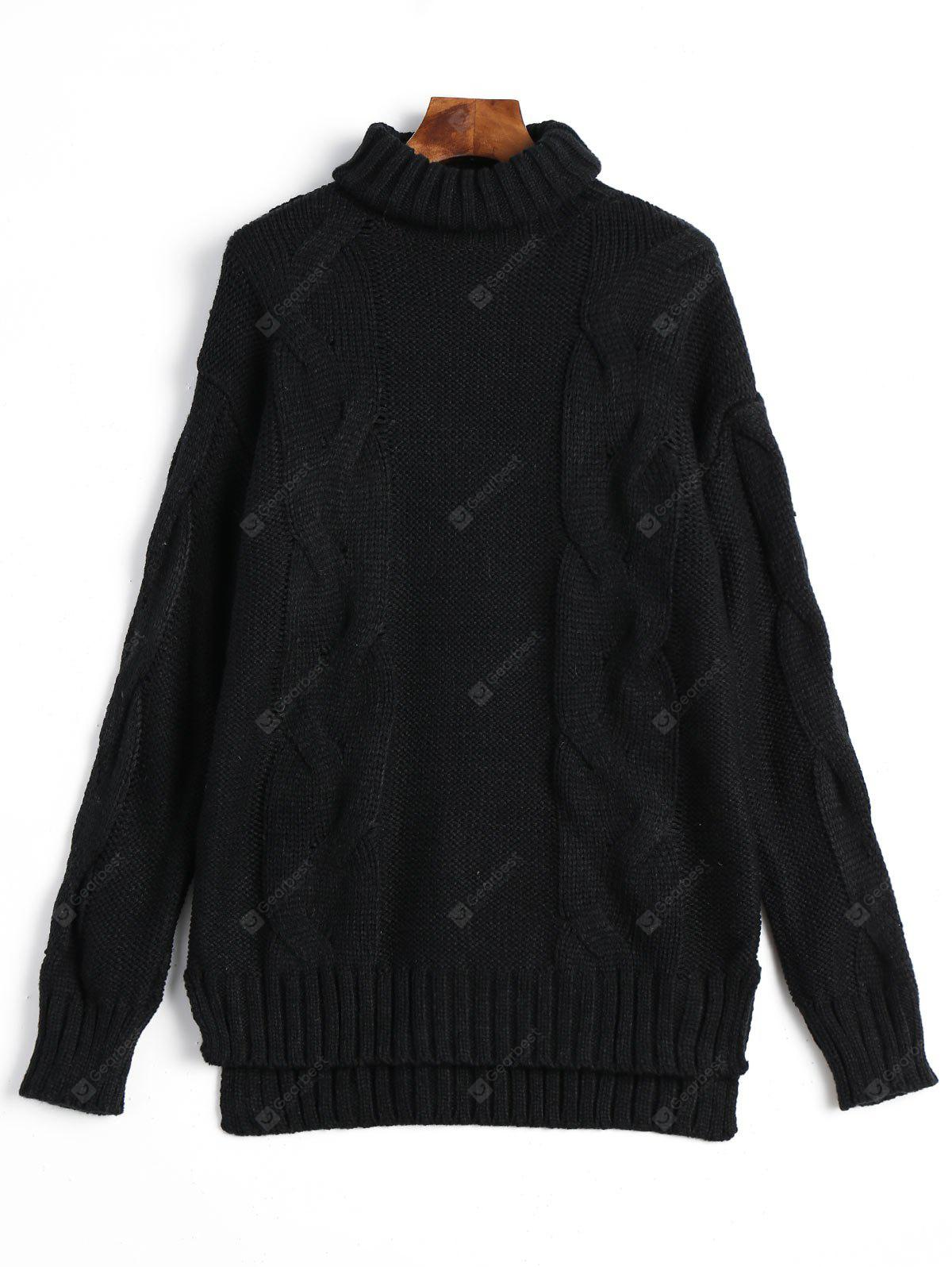 Slit Cable Knitted Turtleneck Sweater