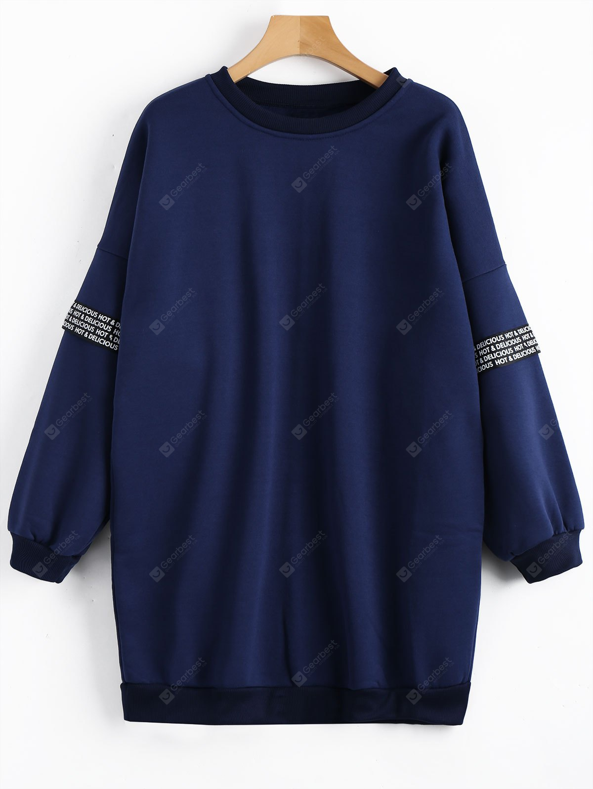 Fleece Crew Neck Tunic Sweatshirt DEEP BLUE M