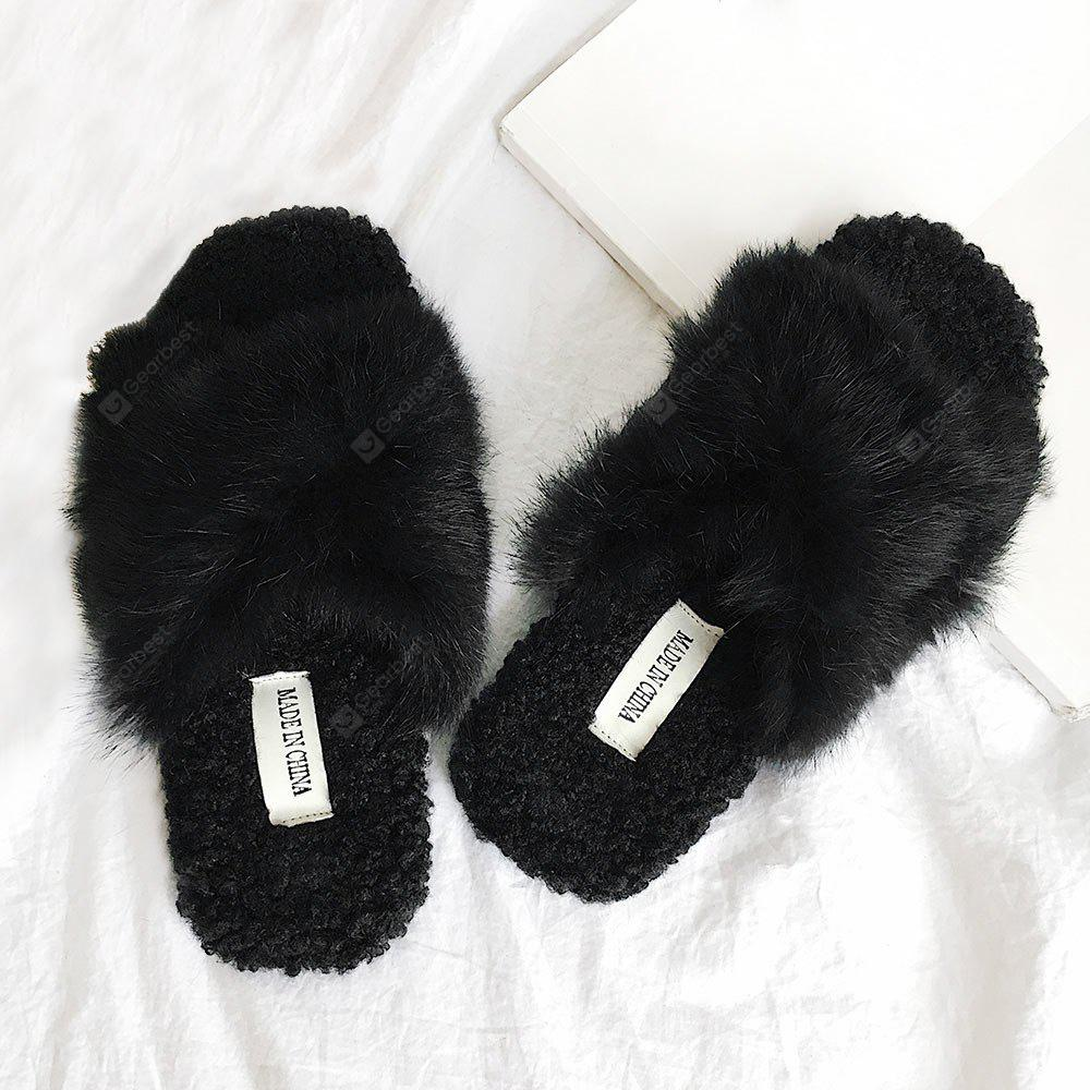 Faux Fur Cross Strap Open Toe House Slippers