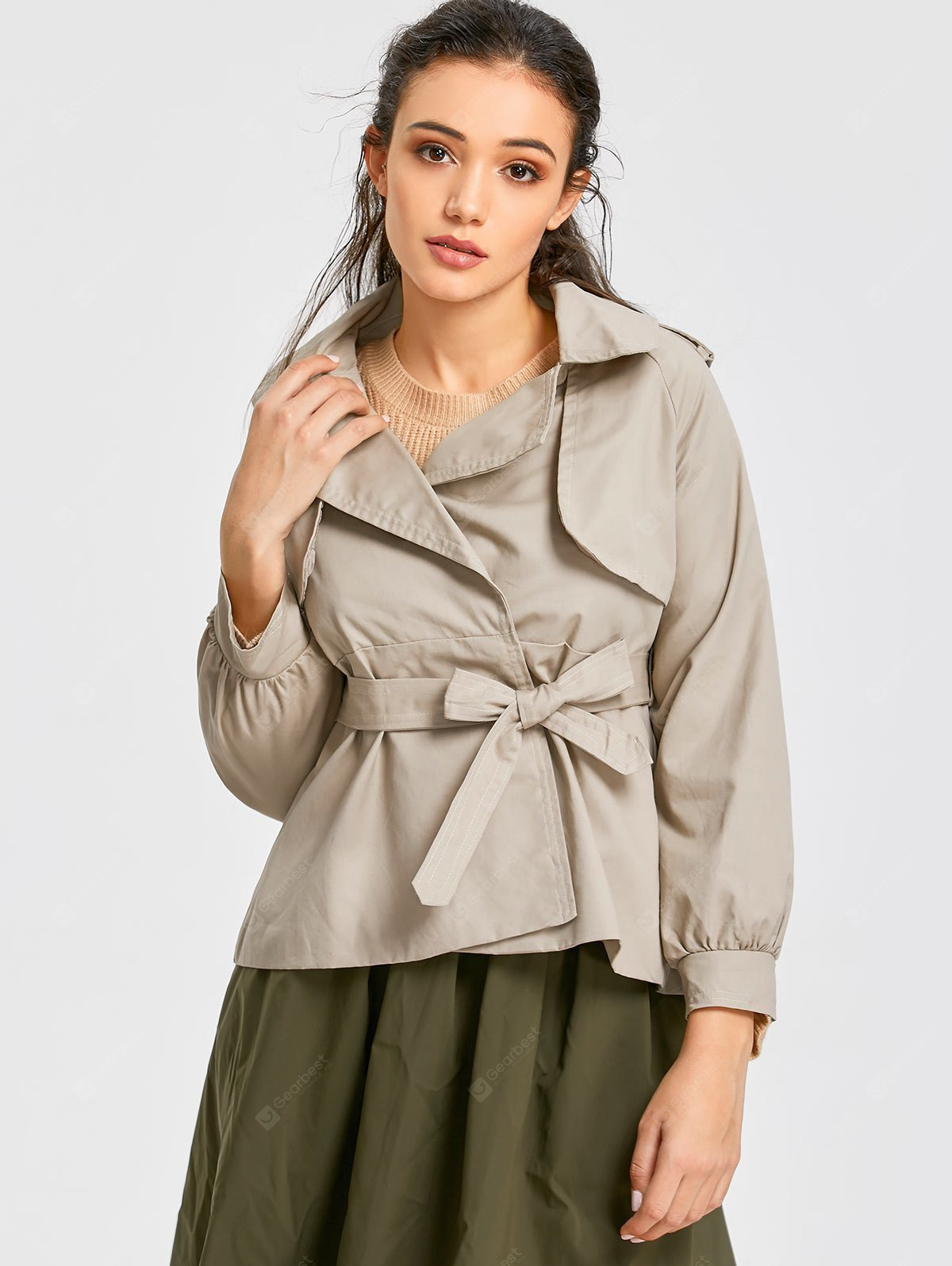 Cuff Sleeve Short Belted Trench Coat