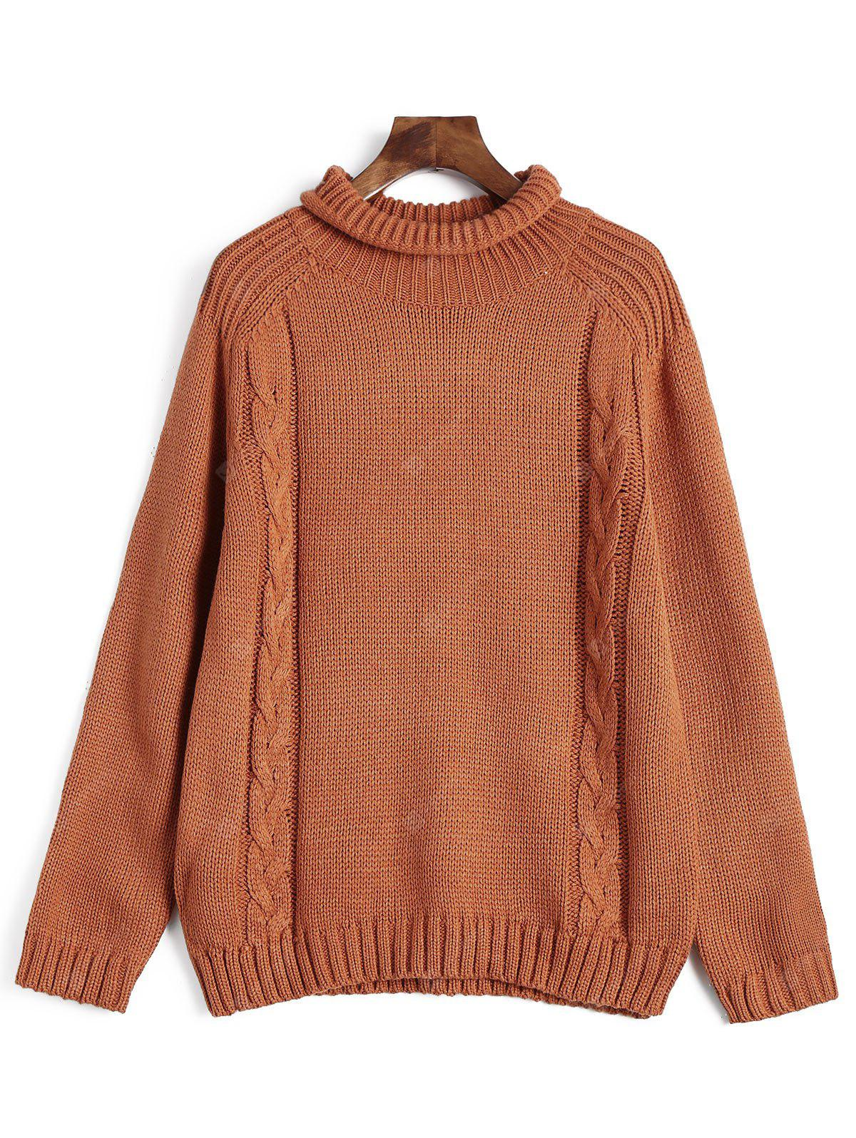Funnel Neck Cable Knitted Pullover Sweater