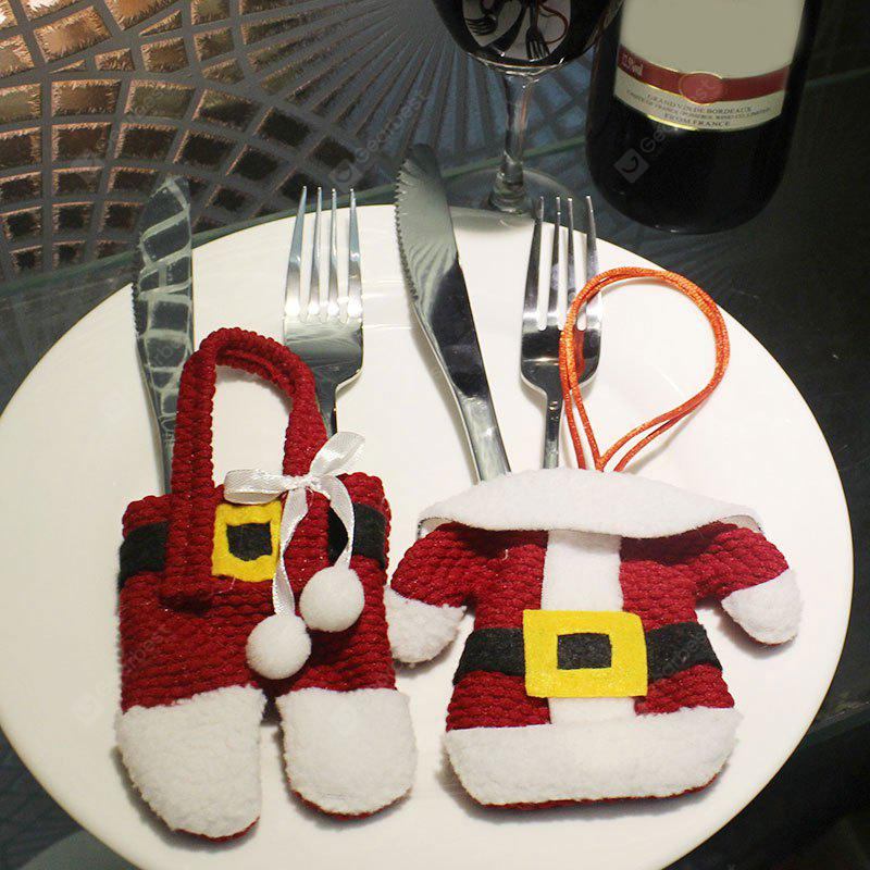 2PCS Christmas Santa Claus Clothes Pants Tableware Bags