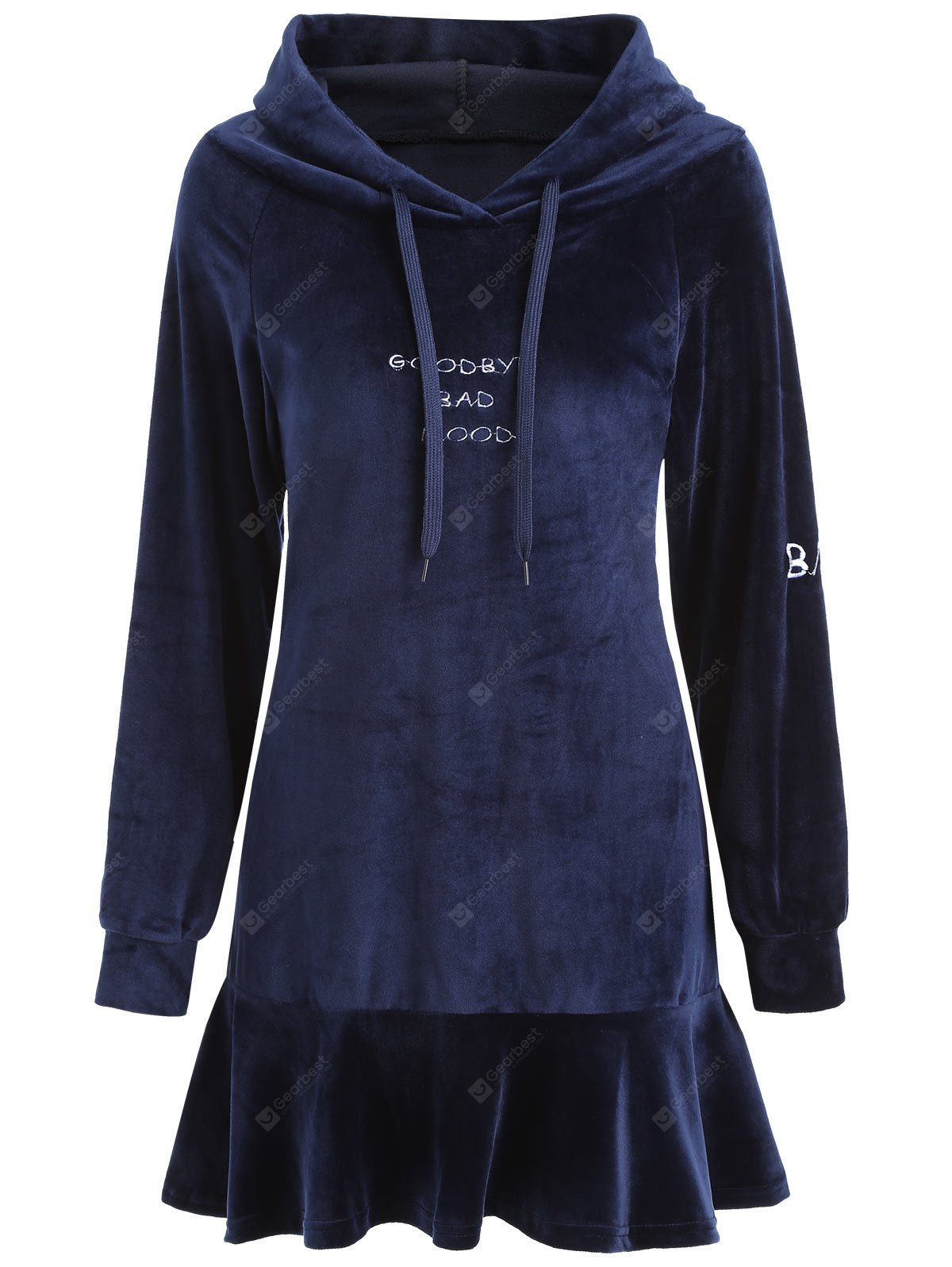 Letter Patched Hooded Velvet Dress