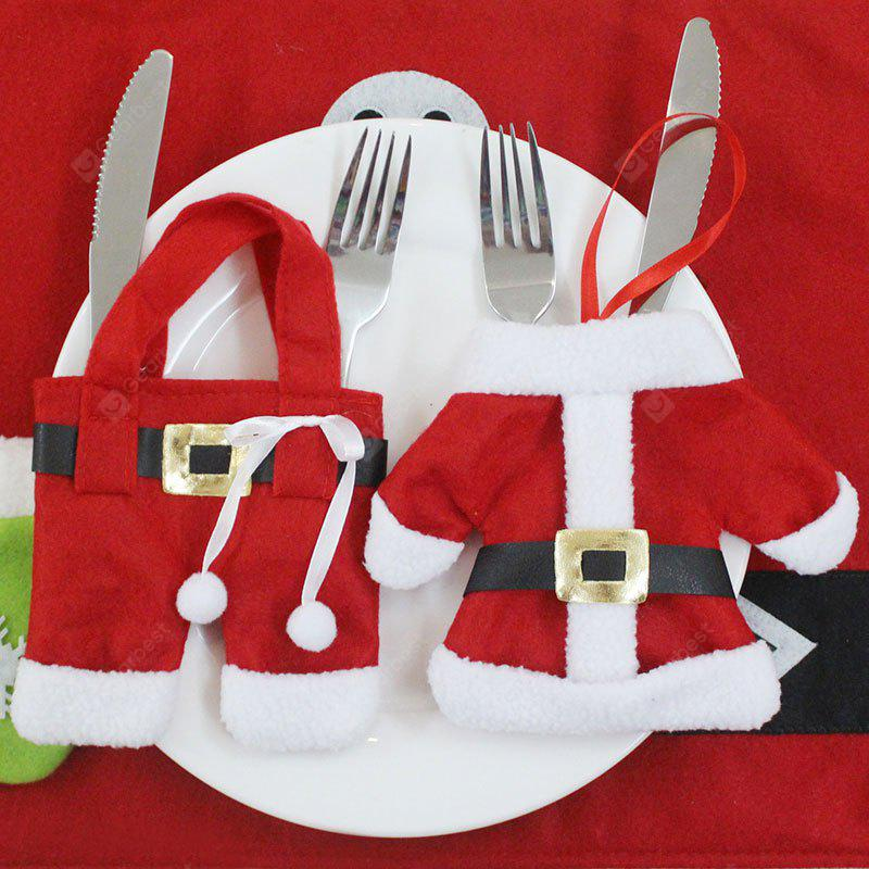 2PCS Christmas Clothes and Trousers Shape Knife And Fork Bags