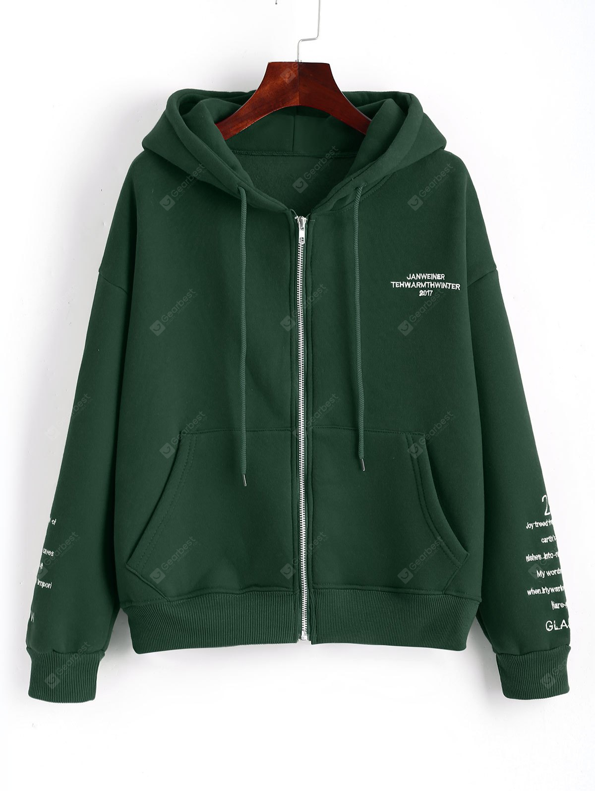 Letter Embroidered Zip Up Hoodie