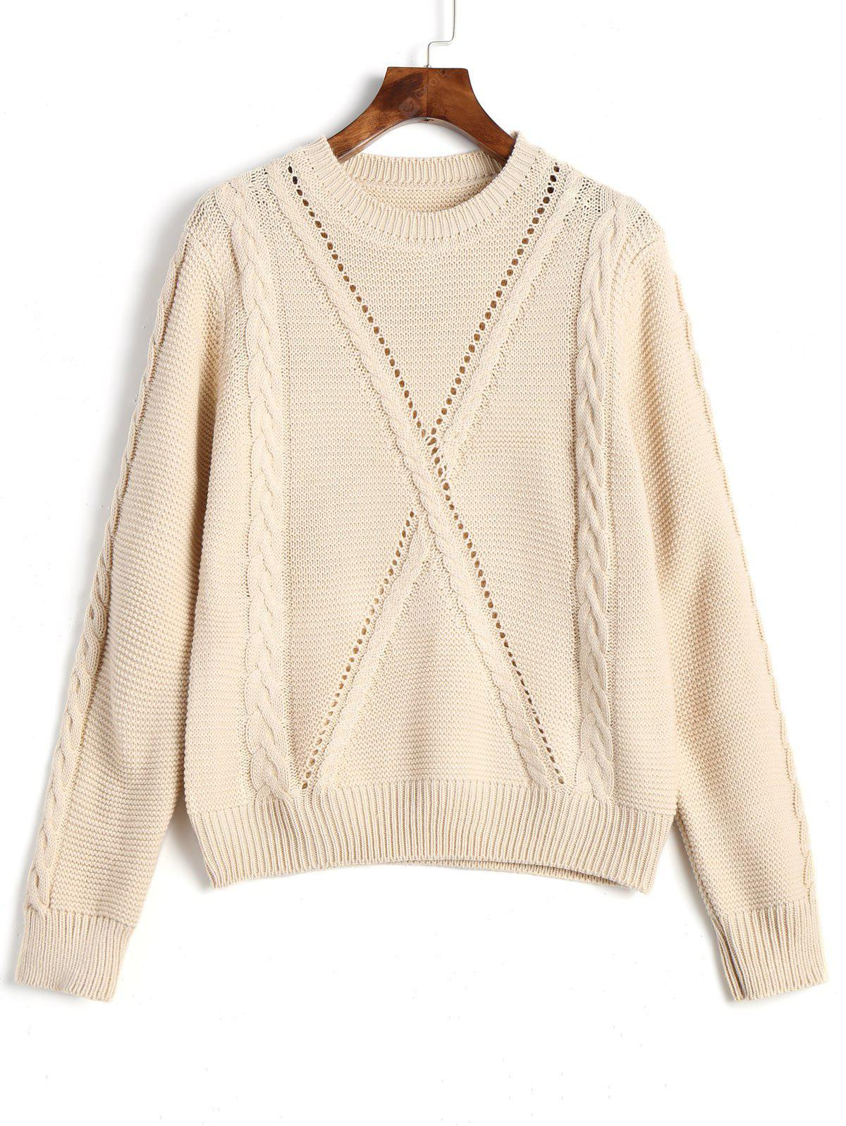 Crew Neck Cable Knitted Pullover Sweater