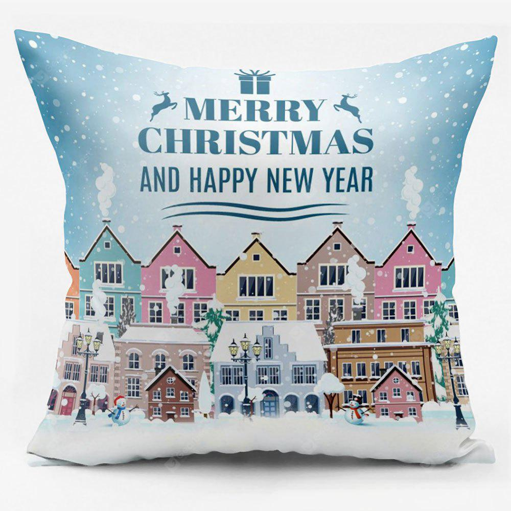 Merry Christmas Town Double Sided Printed Decorative Pillowcase