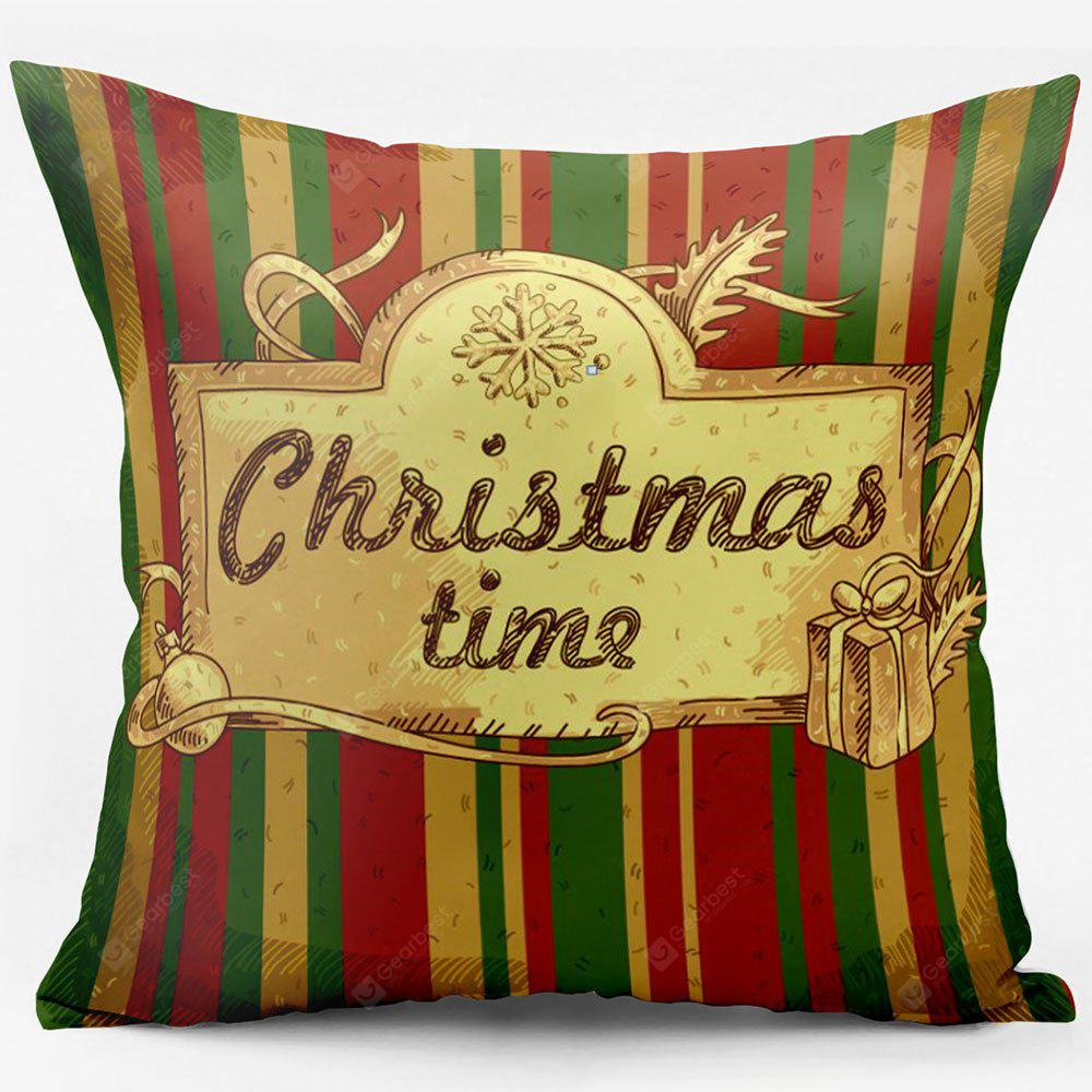 Christmas Time Striped Double Sided Printed Decorative Pillowcase