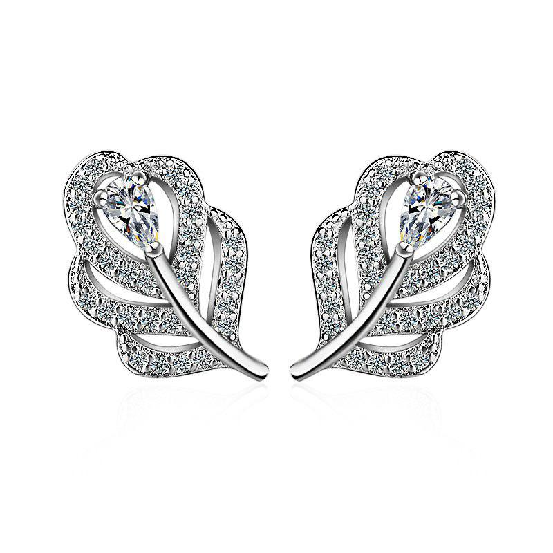 Rhinestone Leaf Stud Tiny Earrings