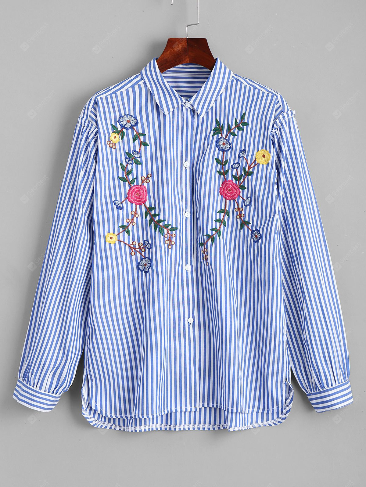 Floral Embroidered Button Down High Low Shirt