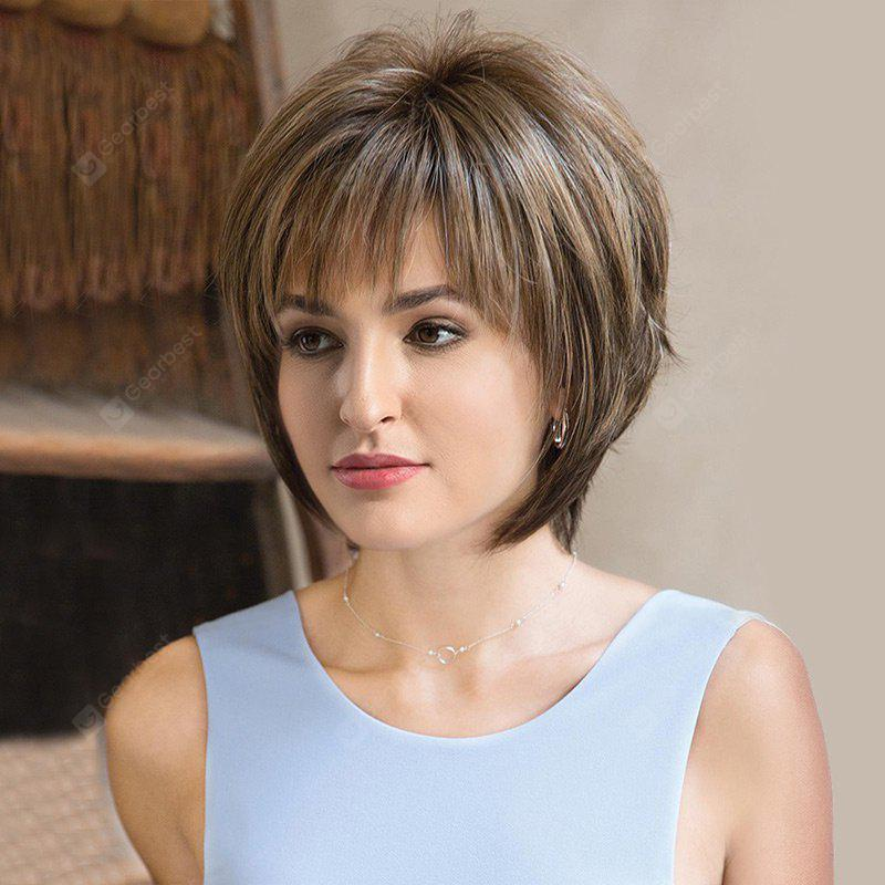 Short Side Bang Fluffy Straight Colormix Synthetic Wig