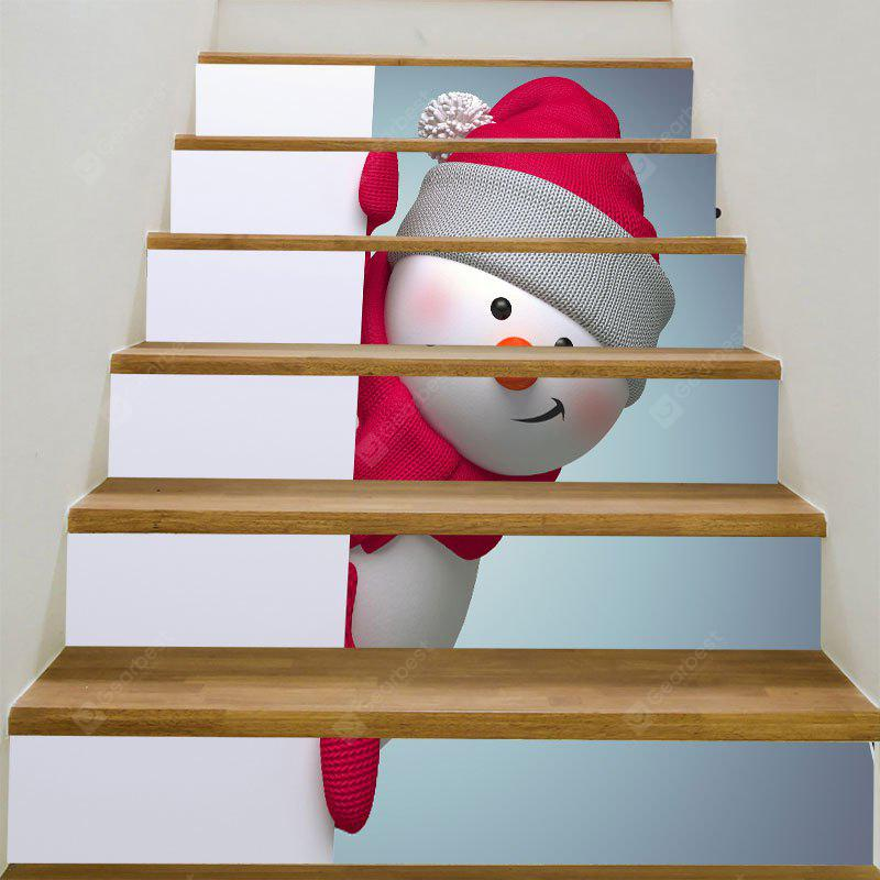 Red Hat Christmas Snowman Printed Decorative Stair Stickers