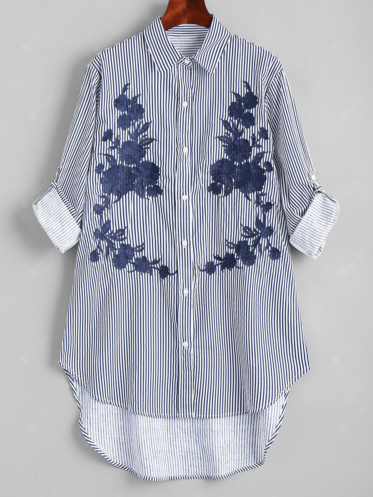 Embroidered Stripes High Low Shirt