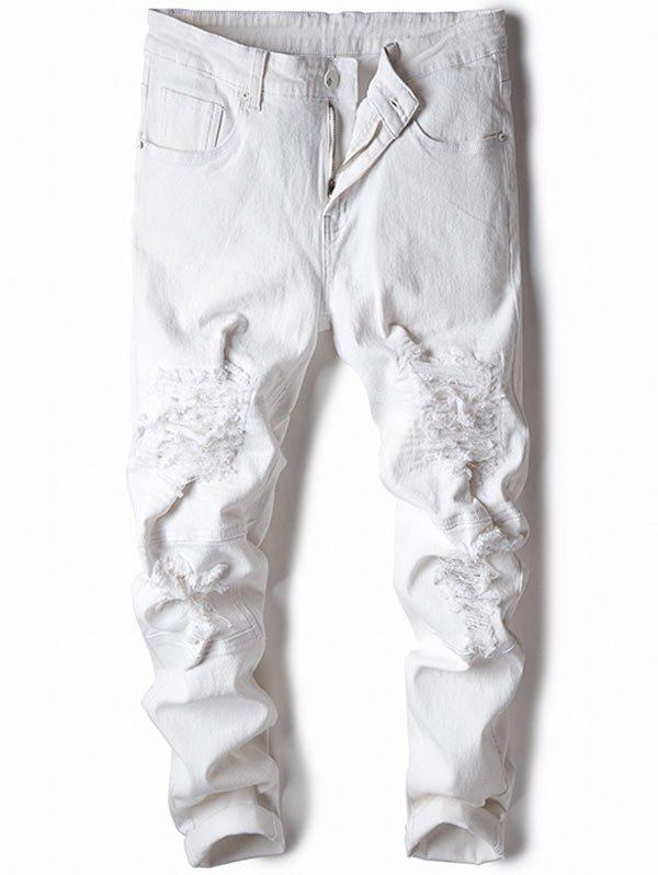 Skinny Zip Fly Distressed Jeans