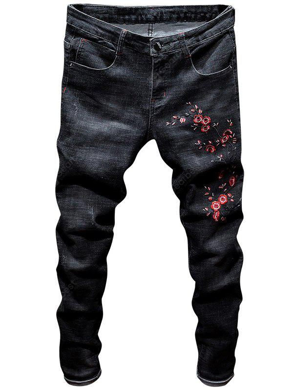 Stretch Zip Fly Floral Embroidery Jeans