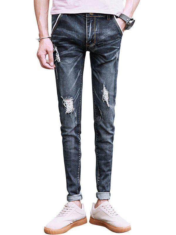 Slim Fit Whisker Distressed Jeans