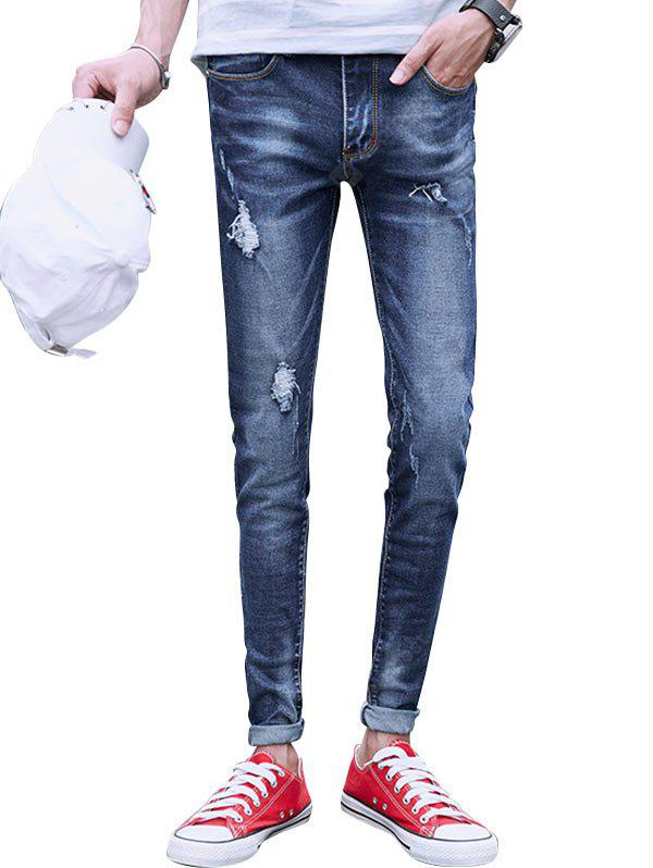 Zip Fly Faded Destroyed Jeans