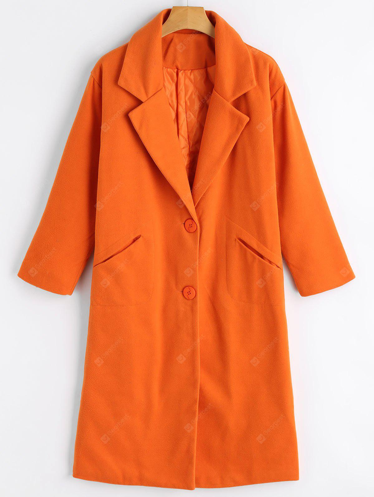 Button Up Lapel Coat with Pockets