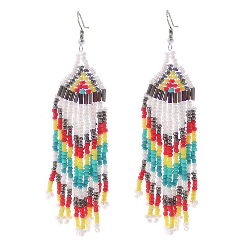 Brincos Bohemian Beaded Tassel Hook