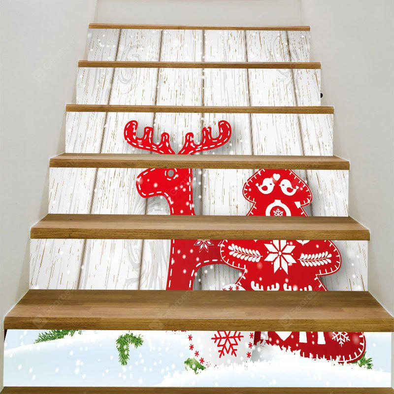 Red Reindeer and Wood Grain Pattern Decorative Stair Stickers