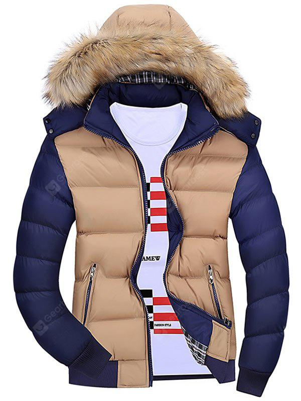Detachable Faux Fur Hood Padded Jacket