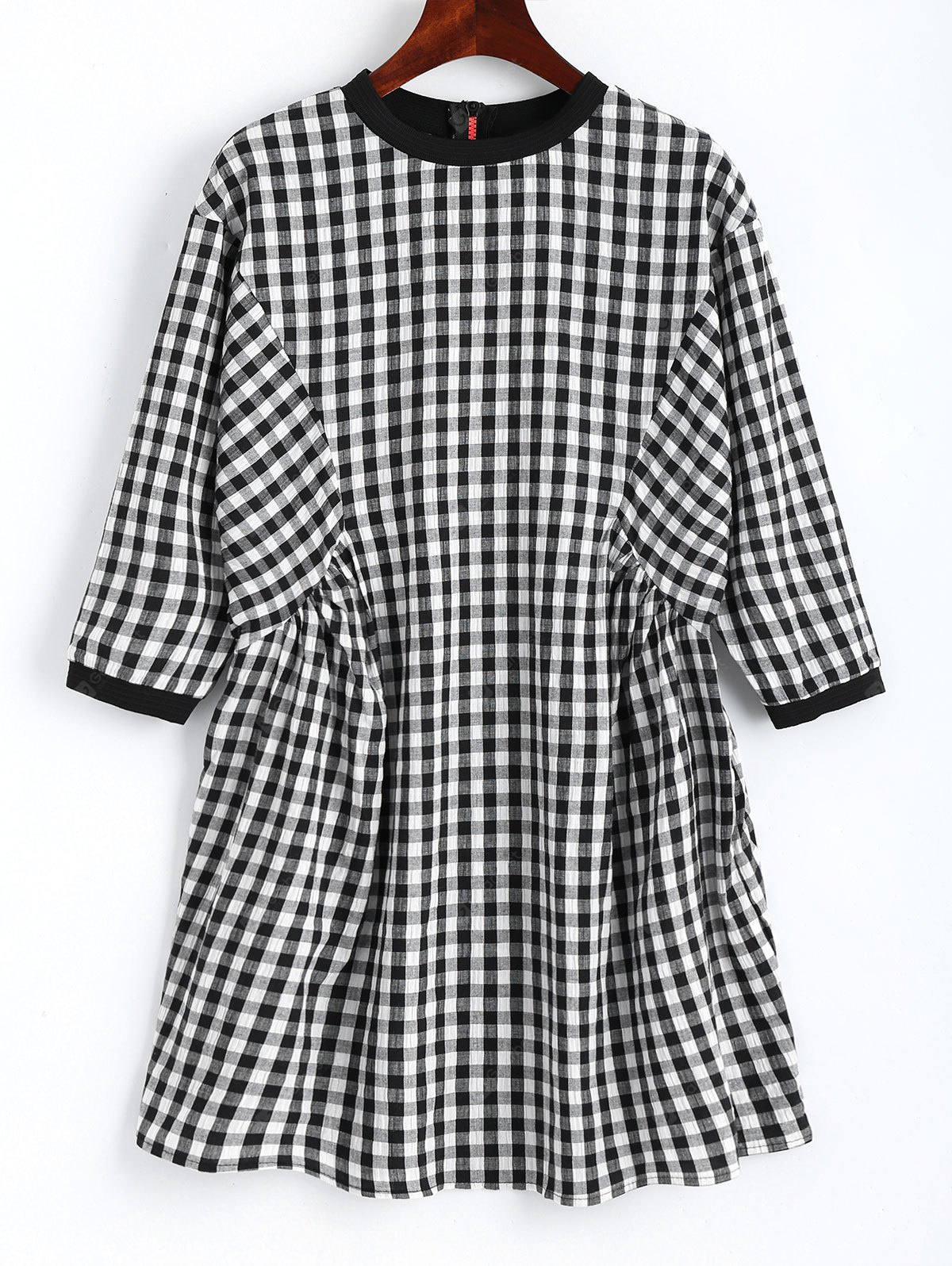 Checked Back Zip Shift Mini Dress