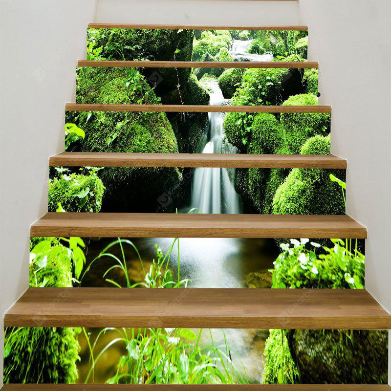 Mountains Stream Printed 6Pcs Stair Stickers