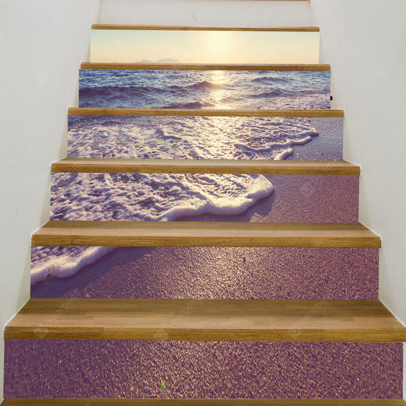Sunset Sea Waves Beach Printed 6Pcs Stair Stickers