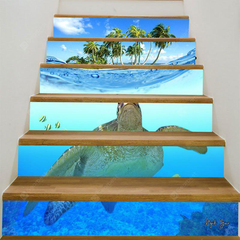 Sea Turtle Coconut Trees Pattern 3D Stair Stickers