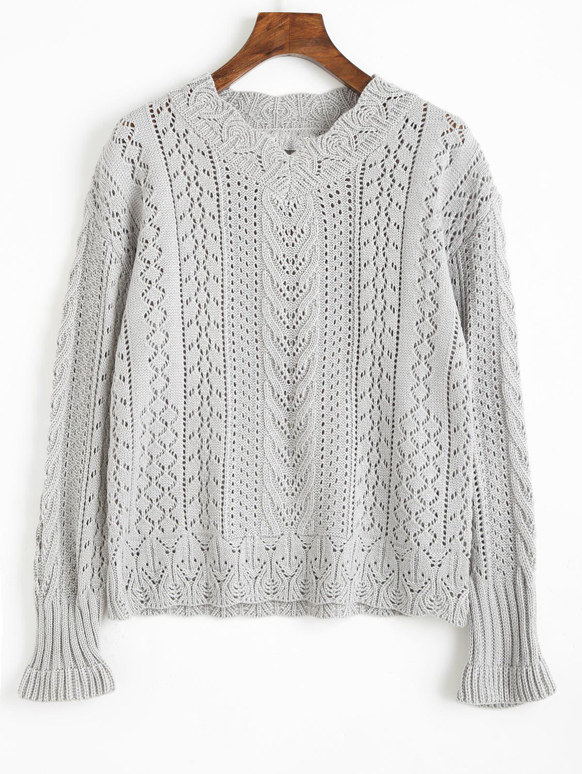V Neck Hollow Out Knitted Sweater